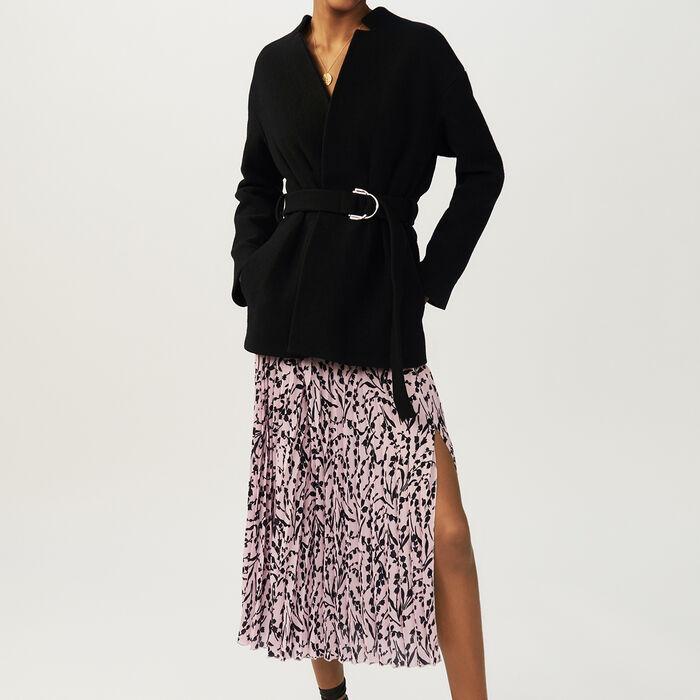 Cappotto corto con cintura : Cappotti colore Nero