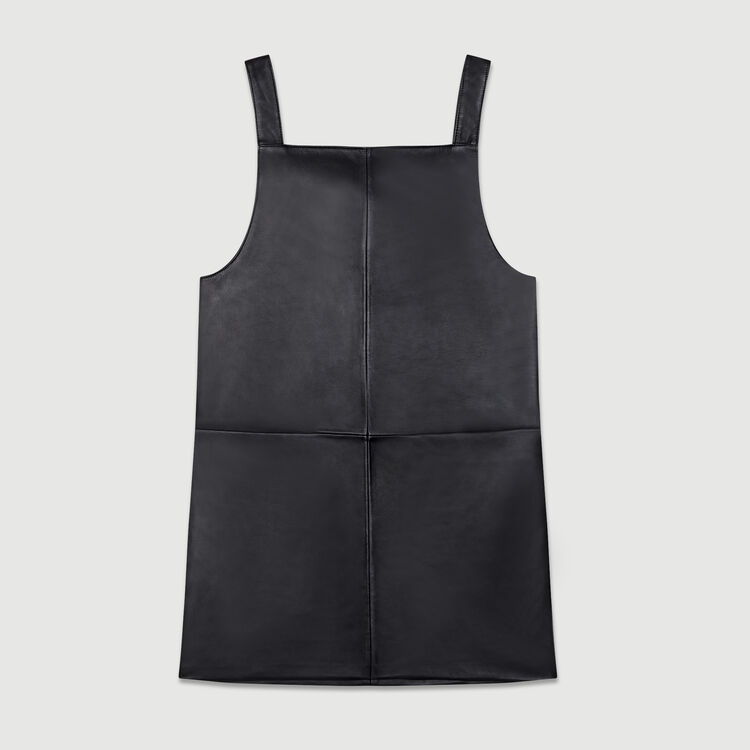 Vestito chasuble in pelle : Vestiti colore Nero