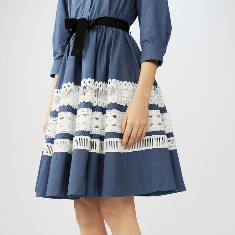 Scamiciato bicolore con ricami : Vestiti colore Blu Marino