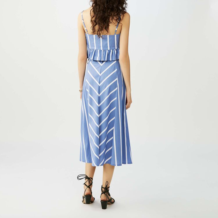 Gonna lunga con righe a godets : Twisted stripes colore Blu