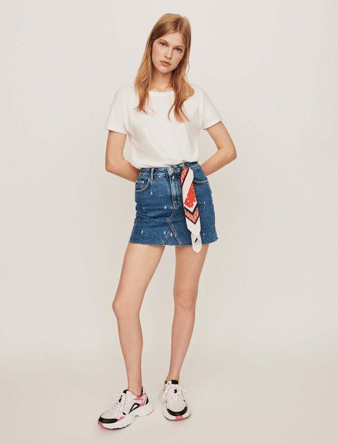 Gonna dritta di jeans delavè - Gonne e shorts - MAJE