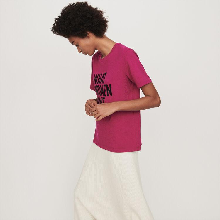 Tee-shirt ricamata : T-Shirts colore Fucsia