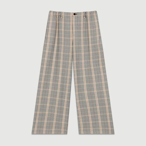 Pantaloni larghi a quadri : Pantaloni colore CARREAUX