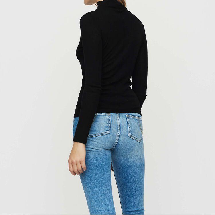 T-shirt in maglia di lana : Maglieria colore NERO