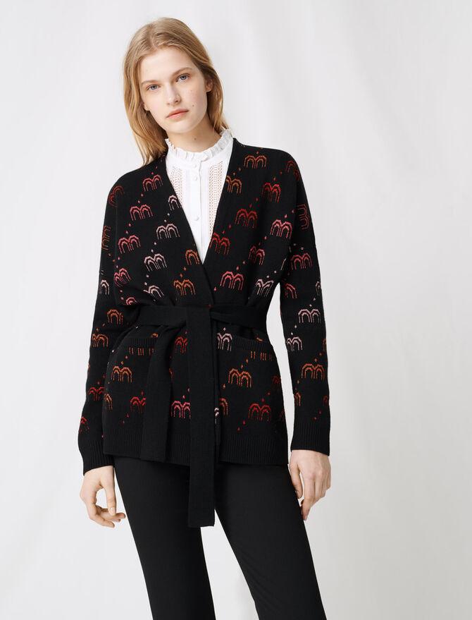 Cardigan in jacquard con monogramma - Pullover e cardigan - MAJE