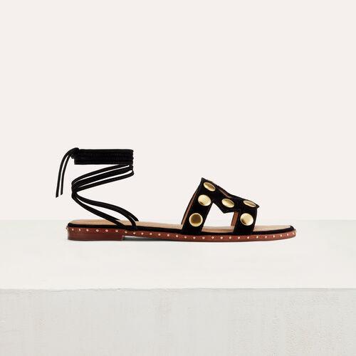 Sandali bassi con perni in pelle : Scape basse colore Nero