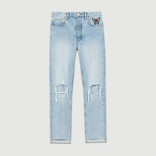Jeans corti con dettagli effetto usato : Le denim colore Denim