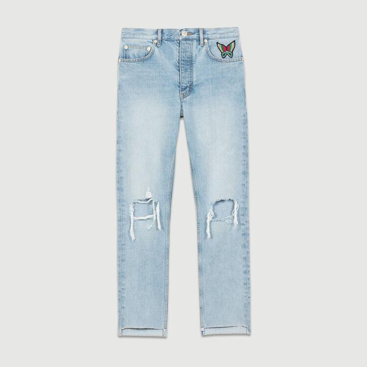 Jeans corti con dettagli effetto usato : Jeans colore Denim