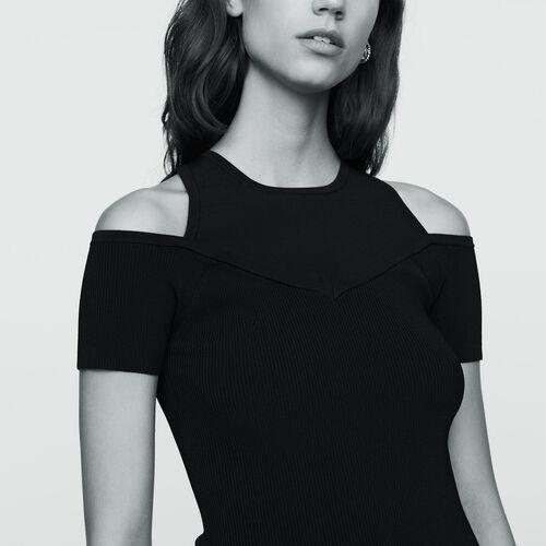 Tee-shirt in maglia con spalle nude : Maglieria colore Nero