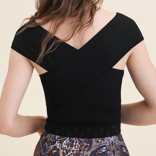 Top senza maniche in maglia a coste : Maglieria colore Nero