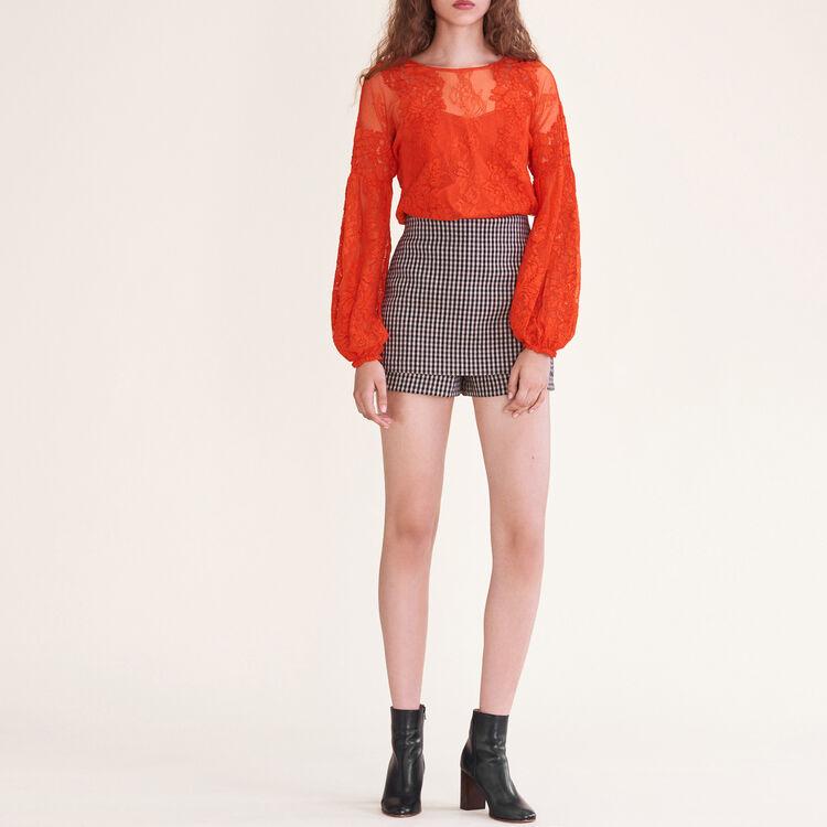 Top in pizzo : Tops colore Arancio