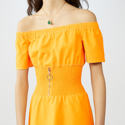 Vestito con ricami punto smock : Vestiti colore Giallo