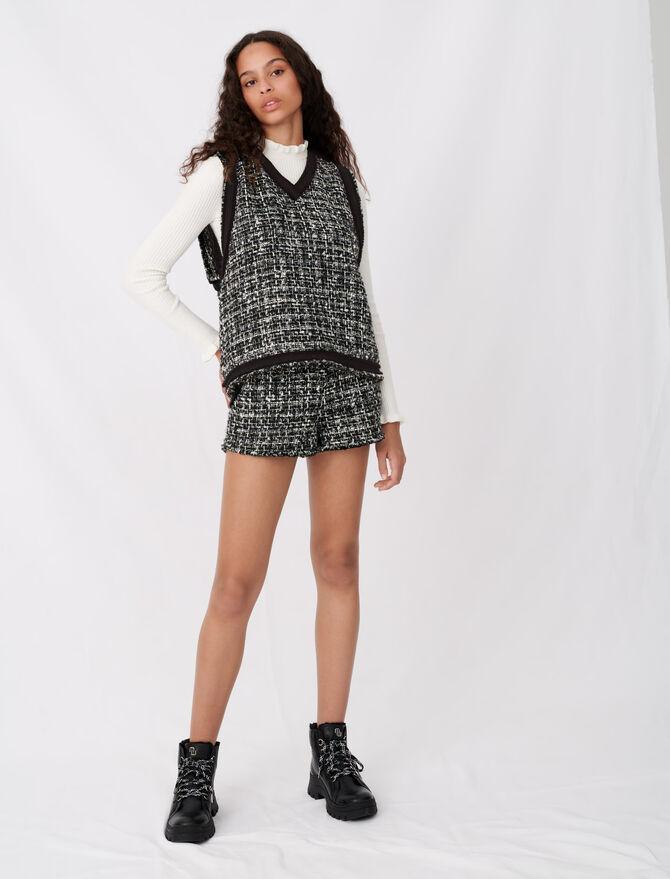 Top stile tweed galloni frange contrasto - Tops e Camicie - MAJE