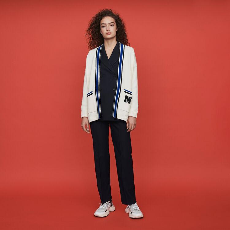 Cardigan con bande ricamate a contrasto : Pullover e cardigan colore Ecru