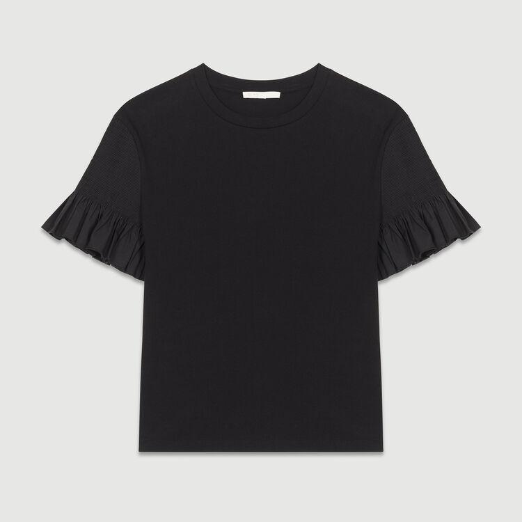 Tee-shirt con volant in cotone : Tops colore Nero