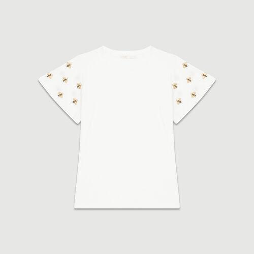 T-shirt con api ricamate : T-Shirts colore Ecru