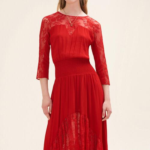 Abito lungo in pizzo : Vestiti colore Rosso