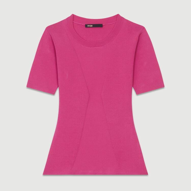 Maglia fine a maniche corte : Prêt-à-porter colore Fucsia