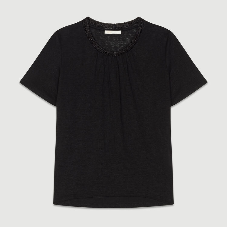 Tee-shirt in lino con collo : T-Shirts colore Nero