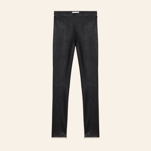Leggings in pelle stretch : Pantaloni colore Nero