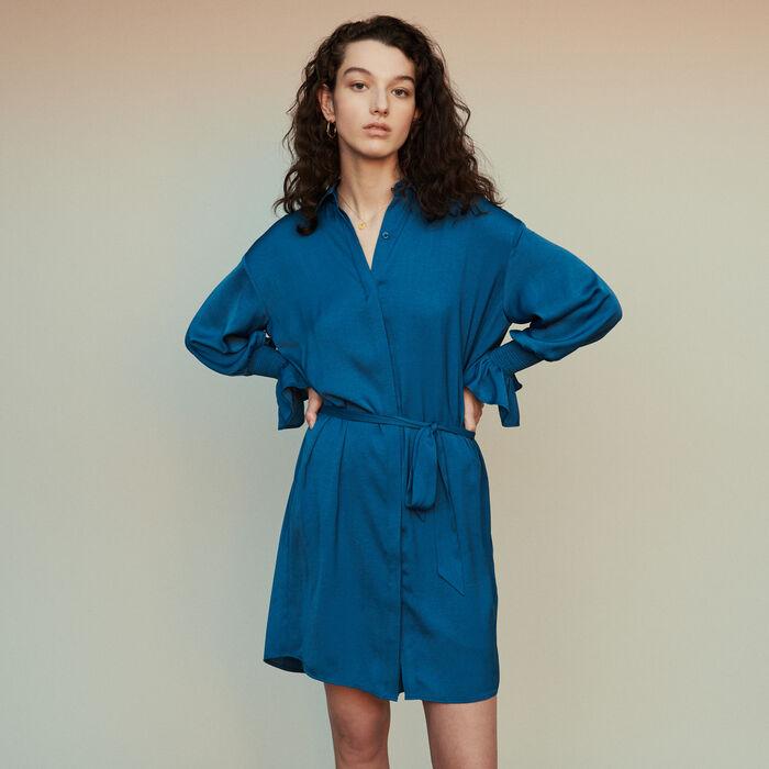 Scamiciato ricamato a punto smock : Vestiti colore Blu