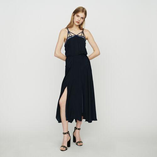 Vestito midi con strass : Vestiti colore Blu Marino