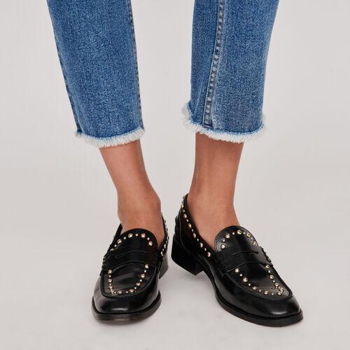 Mocassini in pelle lucida e borchie : Scarpe piatte colore Nero