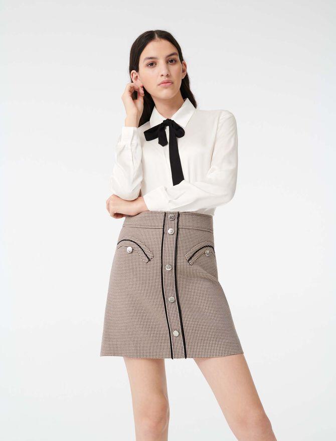 Camicia in satin con cravatta - SoldesFR_Tops_chemises - MAJE