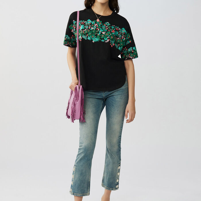 Tee-shirt loose ricamato in cotone : T-Shirts colore Nero