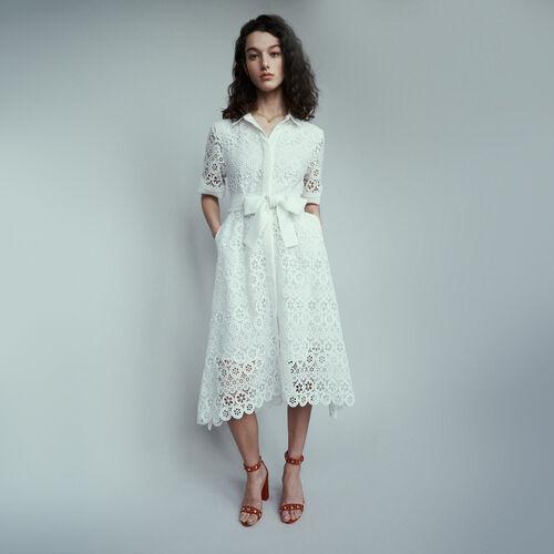 Vestito midi in pizzo con margherite : Vestiti colore Bianco