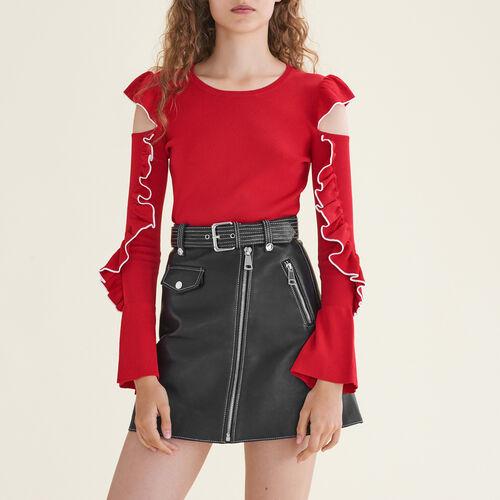 Pullover in maglia con spalle scoperte : Pullover e cardigan colore Rosso