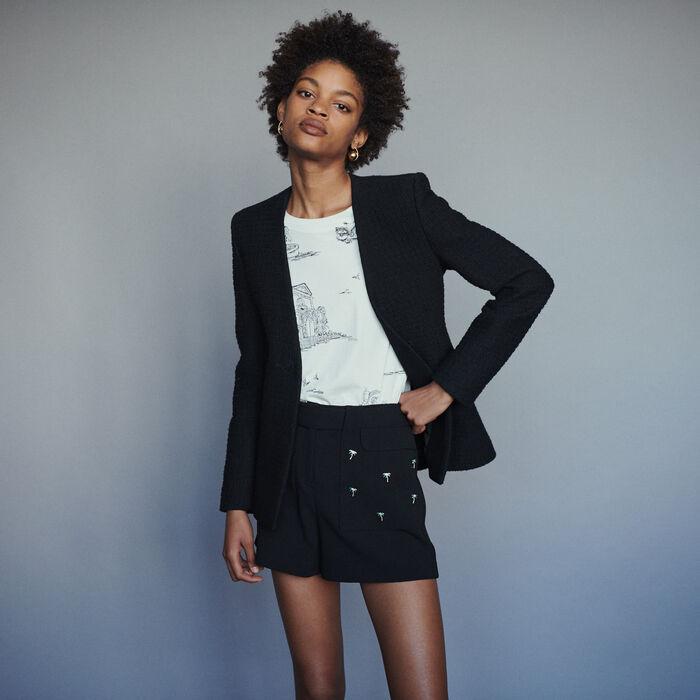 Giaccas enza collo stile tweed : Giacche colore Nero