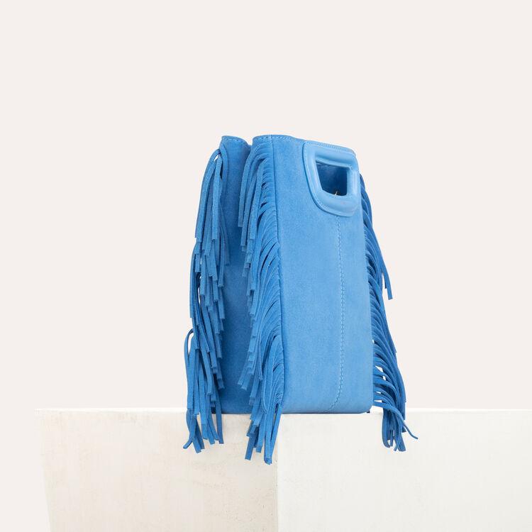 Borsa a M con frange in pelle : Borse M colore Blu