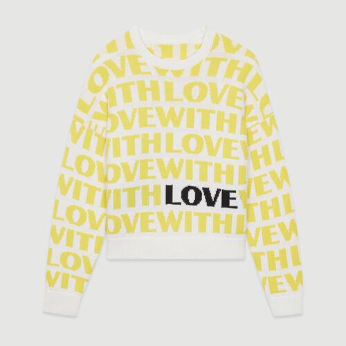 Pull in jacquard con messaggio : Pullover e cardigan colore Giallo