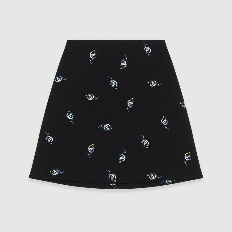 Gonna a trapezio con ricami fantasia : Gonne e shorts colore Nero
