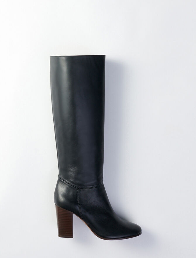Heeled stretch vinyl booties -  - MAJE