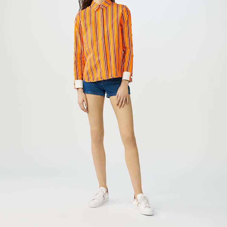 Camicia in cotone con abbottonature : Camicie colore Arancio
