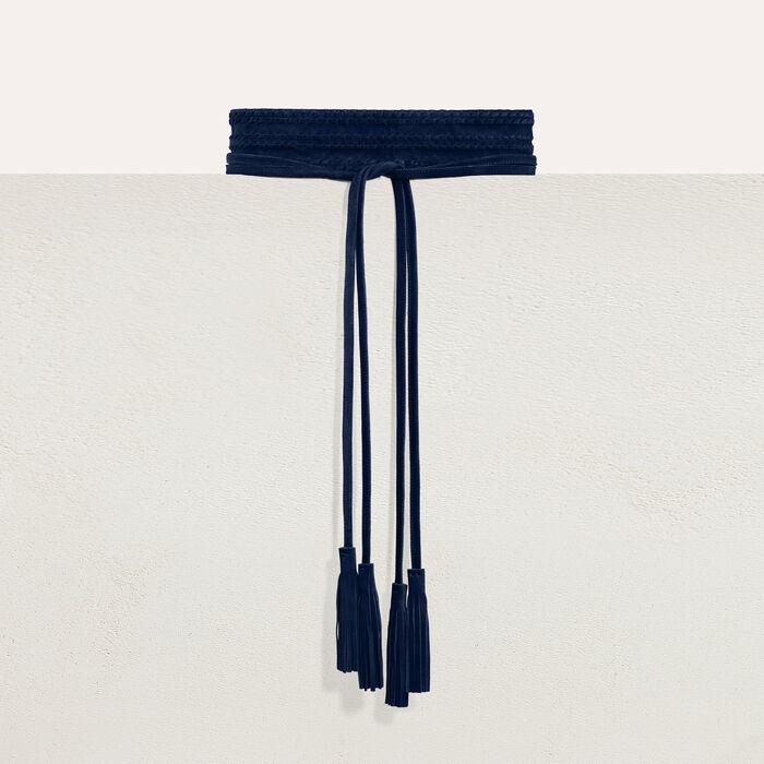 Cintura larga intrecciata : Cinture colore Blu Marino