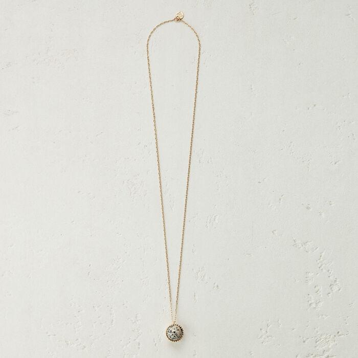 Collana con sfera in pietra naturale : Gioelli colore Bianco Sporco
