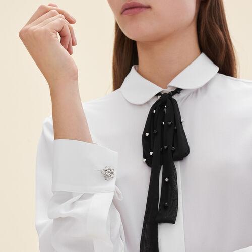 Camicetta in seta con cravatta in tulle - Camicie - MAJE