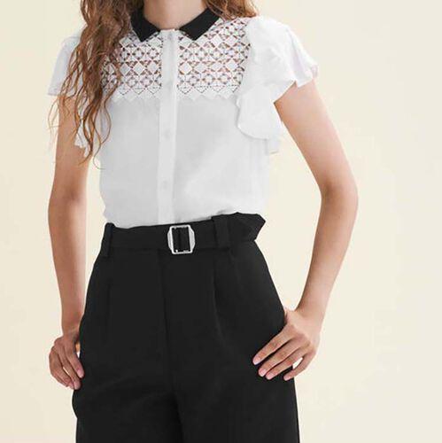 Camicetta bicolore con ricami e volant : Camicie colore Bianco Sporco
