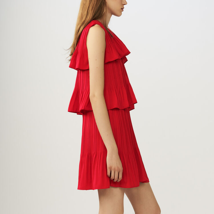 Vestito lungo in seta stampato : Vestiti colore ROUGE