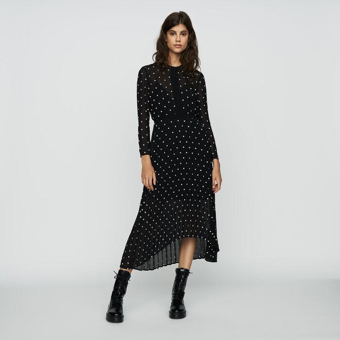 Vestito lungo plissettato con ricami : Prêt-à-porter colore NERO