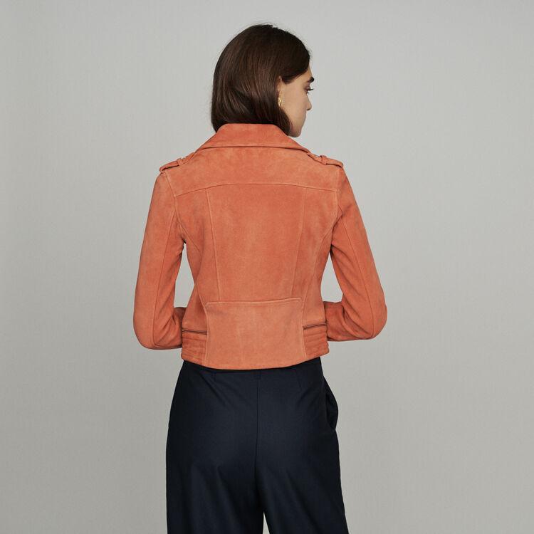 Giubbotto in suede : Cappotti e Giubbotti colore Corallo