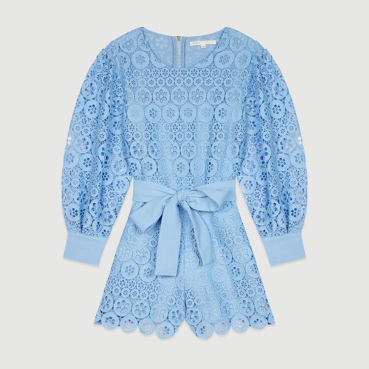 Tuta pantalone corta in pizzo : Gonne e shorts colore Blu