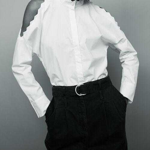 Camicia in cotone con spalle scoperte : Tops colore Bianco