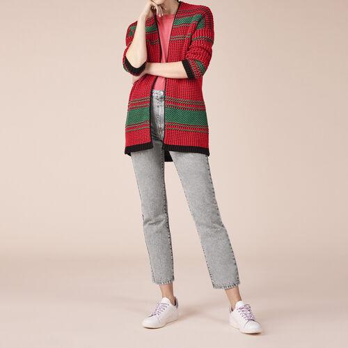 Cardigan bicolore a grana di riso - Pullover e cardigan - MAJE
