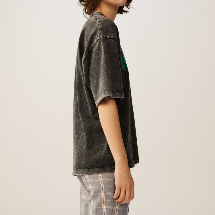 Tee-shirt larga con scritta : T-Shirts colore Grigio
