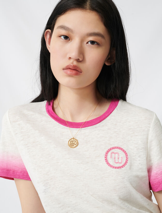 T-shirt monogramma e rifiniture tie&dye - T-Shirts - MAJE