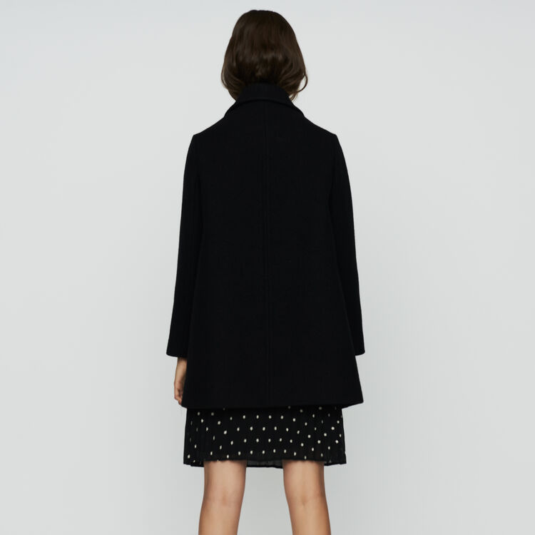 Cappotto a trapezio in lana : Prêt-à-porter colore Nero